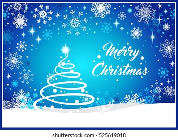 Christmas background with tree, snow and snowflakes on blue background. vector illustration with Merry Christmas text.
