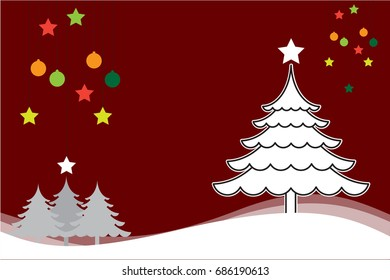 Christmas background with Christmas tree white vector for background illustration.