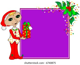 Christmas background vector with elf, gift and holly.
