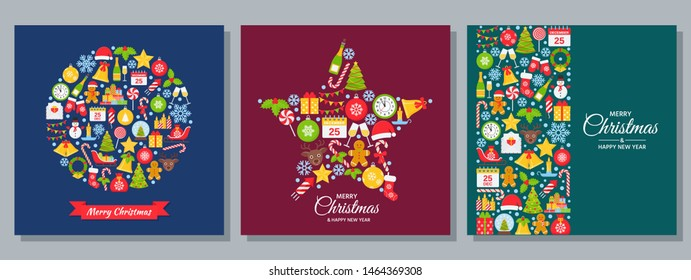 Christmas background. Vector. New year greeting card. Decoration design banner with Christmas icons on dark backdrop. Holiday poster. Cartoon square illustration. Set Xmas party template in flat style