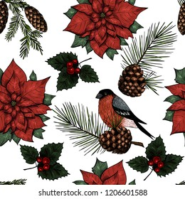 Christmas background. Vector  seamless pattern, great choice for wrapping paper pattern. Vintage style