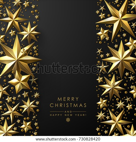 christmas background with vertical decorative borders made of cutout gold foil stars chic christmas greeting