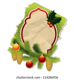 Christmas background with vintage paper label, fur, Christmas tree decorations and fir cone