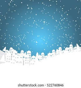 Christmas background with white city and snowflakes bokeh