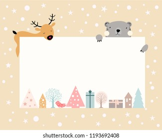 Christmas background with white copy space for taxt or messages with Chrismas decorations Frame,Cute flat cartoon design, Vector Illustration for Greeting card, flyer and invitation card