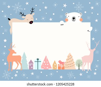 Christmas background with white copy space for taxt or messages with Christmas decorations frame,reindeer,polar bear,snowflakes, Vector Illustration for Greeting card,flyer and invitation card