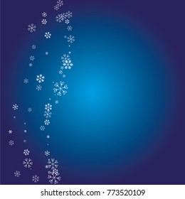Christmas background with white random scatter falling snowflakes on a navy blue background.