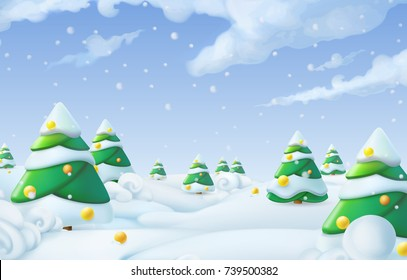 Christmas background. Winter landscape 3d vector illustration