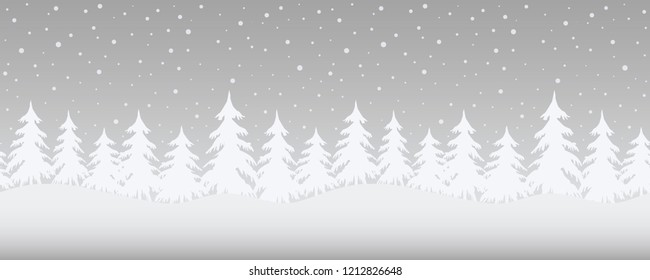Christmas background. Winter landscape. Seamless border. There are white fir trees on a gray background. Vector illustration