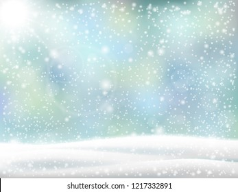 Christmas background. Winter landscape with snowdrift and falling snow. Vector backdrop for card.