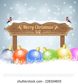 Christmas background with Wooden Plaque, Bullfinches and Bauble. Vector Template for Cover, Flyer, Brochure.