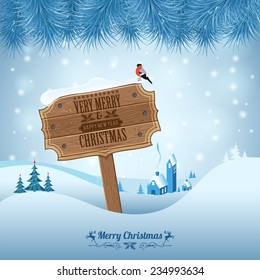 Christmas background with Wooden Plaque, Fir Branches and Bullfinch. Vector Template for Cover, Flyer, Brochure.