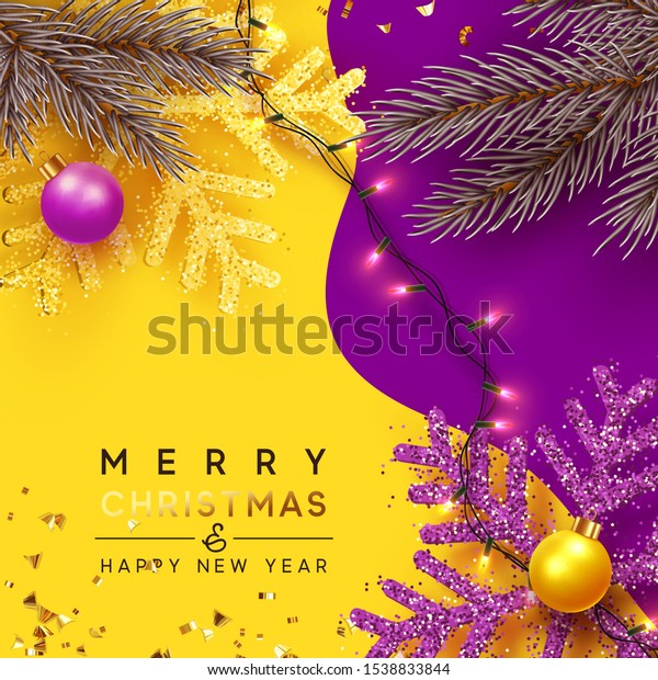 Christmas Background. Xmas design of sparkling realistic lights garland, yellow snowflake and glitter gold confetti, ball bauble. Horizontal christmas poster, greeting cards, headers, website