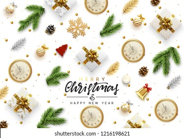Christmas background. Xmas objects viewed from above. Text Merry Christmas and happy New Year. Greeting card, banner, web poster