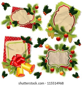 Christmas backgrounds collection with vintage paper label, fur, Christmas tree decorations and fir cone