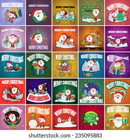 Christmas Backgrounds Set - Vector Illustration, Graphic Design Editable For Your Design, Collection Of Christmas Icons, Christmas Concept