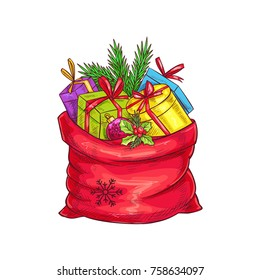 Christmas bag with gifts, christmas tree and holly. Vector illustration in sketch style.