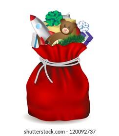 Christmas bag Santa Claus isolated, vector image