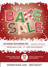 Christmas bake sale flyer template with hand drawn cookie letters on a red background