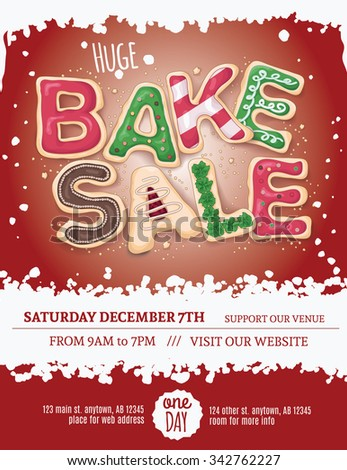 Christmas Bake Sale Flyer Template Hand Stock Vector Royalty Free