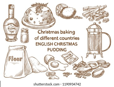 Christmas baking. Ingredients.English christmas pudding.England