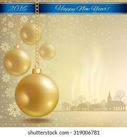 Christmas ball with blue ribbon on gold background in vector format