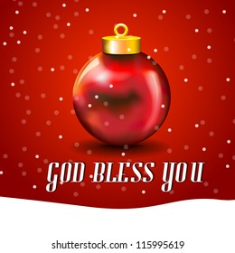 Christmas Ball Card with snow, and free copy space Merry Xmas card with ball and white copyspace and God Bless You typed