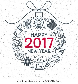 Christmas ball consisting of christmas line icons and sign Happy New Year 2017 year on snow holiday background. Christmas decoration element. Vector Illustration