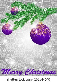 Christmas ball decorate card vector illustration, damask background