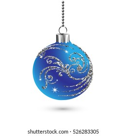 Christmas ball decoration with silver glitter. Happy New Year bauble traditional. Merry Xmas greeting card . Bright shiny decorative holiday design. Vector illustration