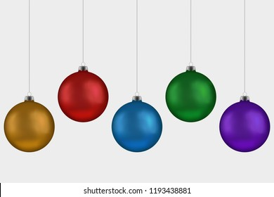 Christmas ball handing on string collection. Xmas vector bauble isolated on white background. New Year  ball set, decoration element. Vector illustration.