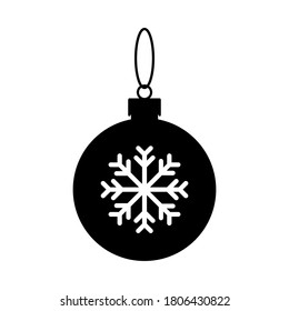 Christmas ball icon. Black silhouette. Vector simple flat graphic illustration. The isolated object on a white background. Isolate.