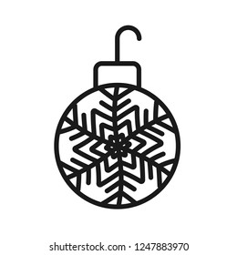 Christmas ball icon. New year tree toy vector sign. Hanging xmas bauble toy ball icon. Decorative tree toy vector symbol. Christmas bauble ball linear icon