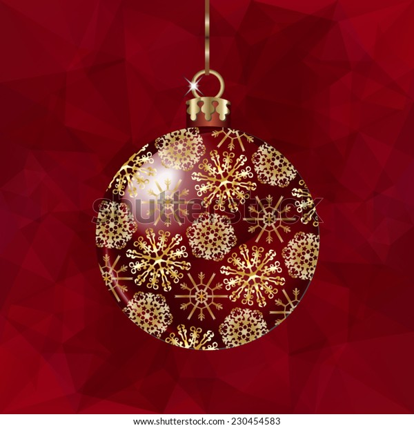 Christmas ball  on abstract triangles vector background in red tones.