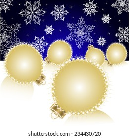 Christmas ball on Falling Snowflakes background. Vector