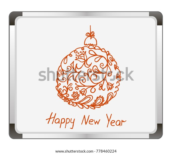 Picture A Christmas Flipchart.Christmas Ball On Flip Chart Background Stock Vector
