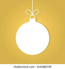 Christmas ball on golden background. Vector illustration. Vector illustration