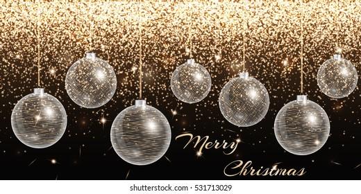 Christmas ball ornament. New years eve celebration. Gold lights. Glitter background