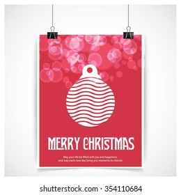 Christmas Ball Ornaments card Design, Red glossy background hanging poster template with merry Christmas typography