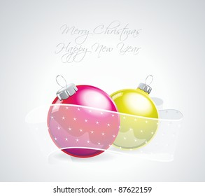 Christmas ball ornaments with ribbons