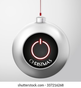 Christmas Ball with Power Button. A beautiful modern design that fits perfectly with Christmas cards and Christmas campaigns. The abstract Power button represents the start of the Christmas season.