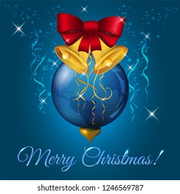 Christmas ball with red bow and golden bells, xmas earth pattern sphere, vector illustration