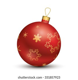 Christmas ball - Red - Decorated design.