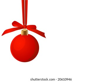 christmas ball with red ribbons