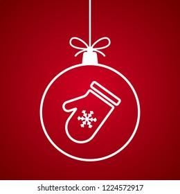 Christmas ball with Santa Claus mitten pattern. Vector illustration.