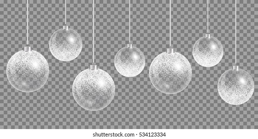 Christmas ball snow. Happy holidays vector. New year celebration