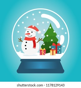 Christmas ball with snow snowman and a Christmas tree. Snow globe with gift boxes. Winter christmas vector illustration