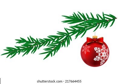 Christmas ball with snowflake and pine tree isolated on white background. Vector Illustration.