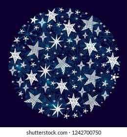 Christmas ball of snowflakes and stars. Magical christmas motif.