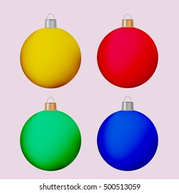 Christmas balls in differens colours.